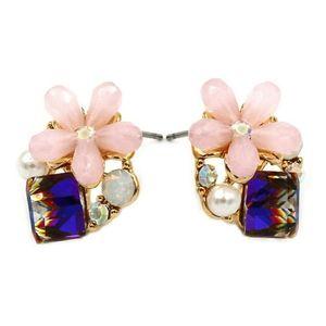 Pink flower cubic gold rim earrings